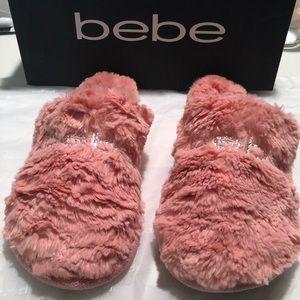 BEBE - Rhinestone Pink Tangerine Faux Fur Slippers
